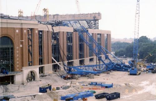 Big Blue Crane Accident at Miller Park