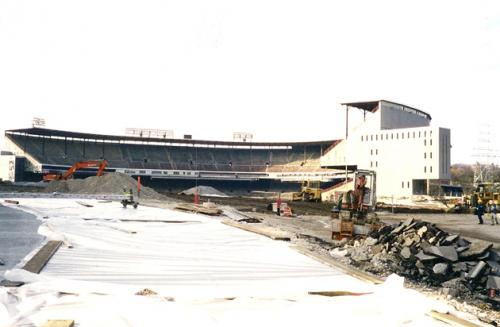 County Stadium with all of its seats removed prior to demolition.