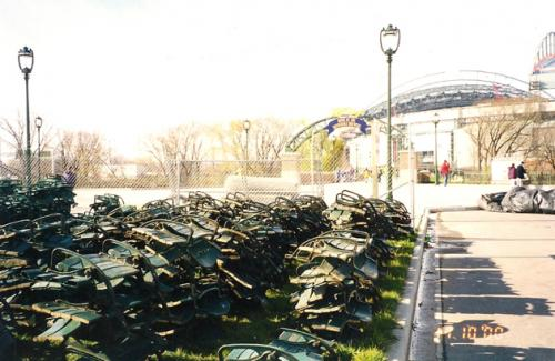 Stacks of seats from County Stadium are ready to be auctioned off.